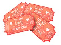 Four Romantic tickets Royalty Free Stock Photography