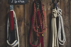 Four Ropes Hanged on Brown Board Royalty Free Stock Photography