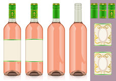 Four rosè wine bottles with label. Detailed illustration of a Four rosè wine bottles with label Stock Images