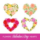 Four rose hearts set. Stock Images
