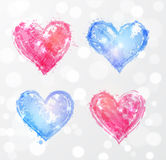 Four rose quartz and serenity hearts. Vector illustration with colors of the year Royalty Free Stock Photos