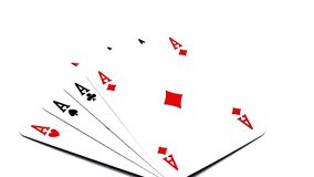 Four rotating poker aces. Four poker aces rotating on a white background stock video footage