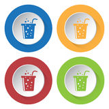 Four round color icons, carbonated drink and straw Stock Photos