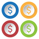 Four round color icons. Dollar currency symbol. Set of four round colored buttons and icons. Dollar currency symbol Stock Photo