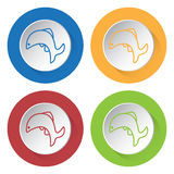 Four round color icons, jumping fish. Set of four round colored buttons and icons. Jumping fish Royalty Free Stock Image