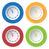 Four round color icons, last minute clock Stock Photo