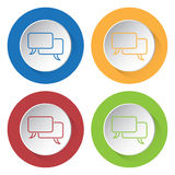 Four round color icons - outline speech bubbles. Set of four round colored buttons and icons, outline speech bubbles vector illustration