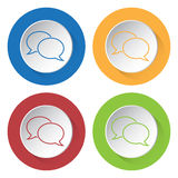 Four round color icons, outline speech bubbles. Set of four round colored buttons and icons. Outline speech bubbles stock illustration