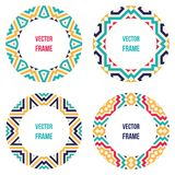 Four round frames with abstract geometric patterns Royalty Free Stock Photos