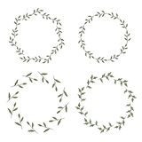 Four round frames made of green branches with leaves. royalty free illustration