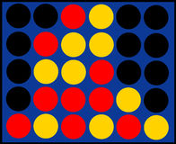 Four in a row. Game: next player - either red or yellow - wins vector illustration