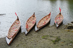 Four rowboats in False Greek,Vancouver , Canada Royalty Free Stock Images