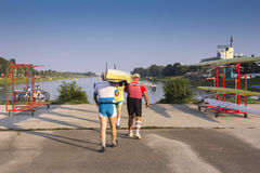 Four rowers wear ship Royalty Free Stock Photo