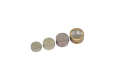 Four rows of stack coins Stock Photo