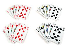 Four royal flush. In playing cards isolated on white Stock Images