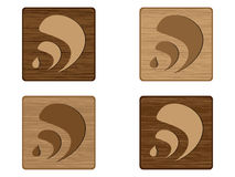 Four RSS wooden buttons Royalty Free Stock Photography