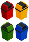 Four rubbish bins in 3D design. Illustration Royalty Free Stock Photos