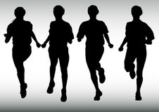 Four running girl Stock Photo