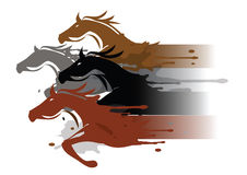 Four running horses. Four stylized running horses. Colorful illustration imitated watercolors painting. Vector available Royalty Free Stock Image