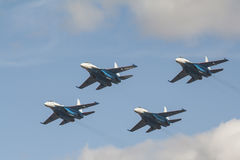 Four russian fighters su-27 Royalty Free Stock Photo