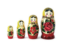 Four Russian nesting dolls Royalty Free Stock Images