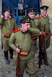 Four Russian soldiers-reenactors. Royalty Free Stock Photos