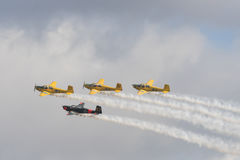 Four Saab 91 Safir trainer aircrafts in formation Stock Image