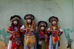 Four samba dancers from cirebon. Tari topeng samba, the excitement of childhood. cirebon culture. indonesia Stock Image