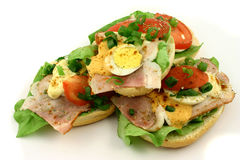 Four sandwiches. Small pile of sandwiches Stock Photos