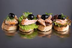 Bruschetta with salmon stock photos