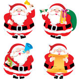 Four Santa Claus in different postures illustratio Stock Photography