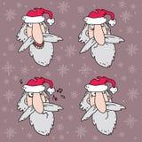Four Santa Claus heads Stock Photography