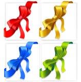 Four satin ribbon corners. Royalty Free Stock Images