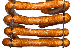 Four sausages ready to smoke Royalty Free Stock Photos