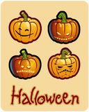 Four scary pumpkin heads of Halloween Royalty Free Stock Photography