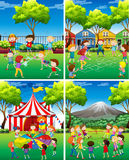 Four scene of children playing in the park Royalty Free Stock Photography