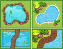 Four Scene Of Pool And Pond Stock Images