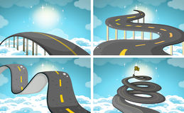 Four scene of roads in the sky Stock Images