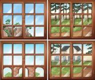 Four scene from windows Stock Image