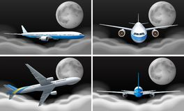 Four scenes with airplane flying at night. Illustration Stock Photography