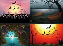 Four scenes with bats at night Royalty Free Stock Photography