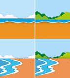 Four scenes of beach and ocean Royalty Free Stock Photo