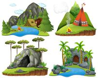 Four scenes with bear at campsite. Illustration Stock Photos