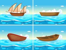 Four scenes of boats in the ocean. Illustration Royalty Free Stock Photography