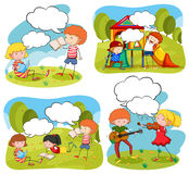 Four scenes of children doing activities in the park Royalty Free Stock Photography
