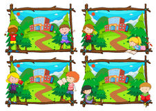 Four scenes of children going to school Royalty Free Stock Photography