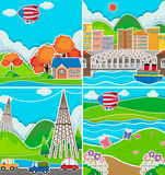 Four scenes of city and countryside Stock Photos