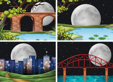 Four scenes of city on fullmoon night Stock Image