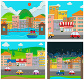 Four scenes of the city Royalty Free Stock Photo