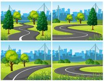 Four scenes of city park and roads. Illustration Royalty Free Stock Photography
